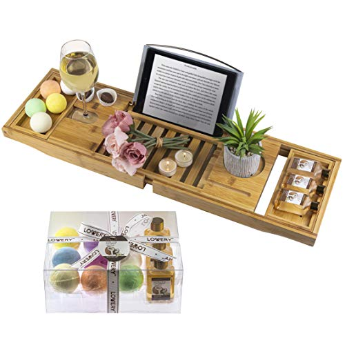LOVERY Premium Bamboo Bathtub Caddy Tray Gift Set with Scented Bath Bombs, Shower Gel, Shampoo and Bubble Bath - Luxury Bathtub Tray with Book and Wine Holder - Expandable Tray to Fit Any Tub