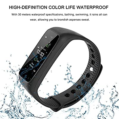 Heart Rate Smart Fitness Tracker Color Display Screen Watch,COSPOR Bluetooth 4.0 Waterproof IP67 Wireless Bracelet Activity Pedometer Wristband.