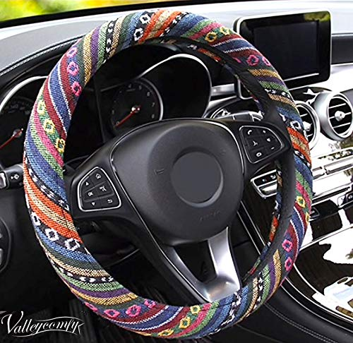 2000 Nissan Sentra Wheel - Valleycomfy Boho Universal 15 inch Steering Wheel Covers with Cloth for Women