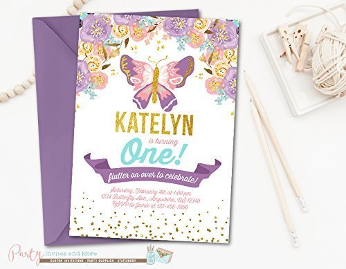Amazon Butterfly Birthday Invitation Printed With Purple Envelopes In 5x7 Set Of 5