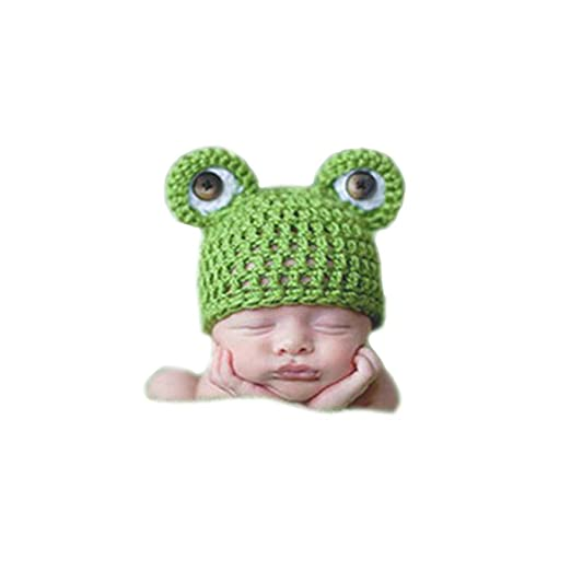 7183656d532 Shark strawberry Cute Baby Newborn Winter Frog Hat Costume Crochet Knitted  Photography Props (Green)