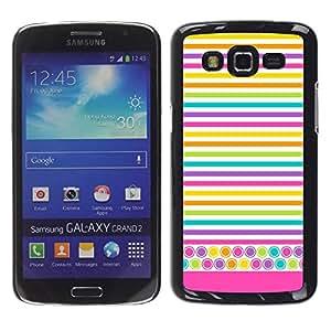 rígido protector delgado Shell Prima Delgada Casa Carcasa Funda Case Bandera Cover Armor para Samsung Galaxy Grand 2 SM-G7102 SM-G7105 /Lines Colorful Crayon Lines Yellow/ STRONG