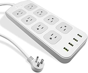 Power Strip Surge Protector 1875W/15A - 8 AC Outlets 3.1A 4 USB Ports 6 Feet Long Extension Cord, Mountable Power Outlet for Flat Plug Phone iPad PC Laptop Home,Office & Hotel - Gray