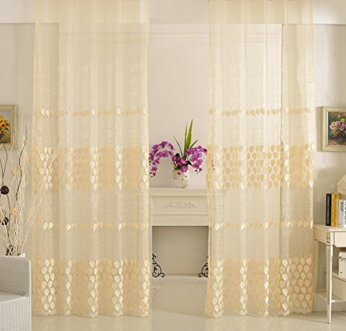 - Smibra European Style Sheer Curtain Elegance Leaf Embroidery Window Voile Rod Pocket Drape Treatment for Living Room,Lounge(1 Panel,W50 x L102inch, White)-CHUANGSHA0364C1WYBWH850102-8508