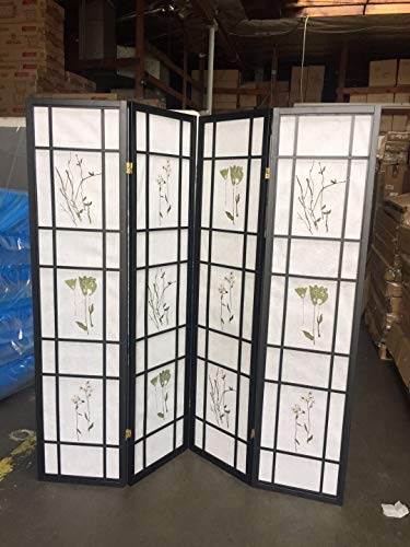 (4 Panel Room Divider Coaster Oriental Floral - Black/Cherry/Natural by SQUARE FURNITURE)