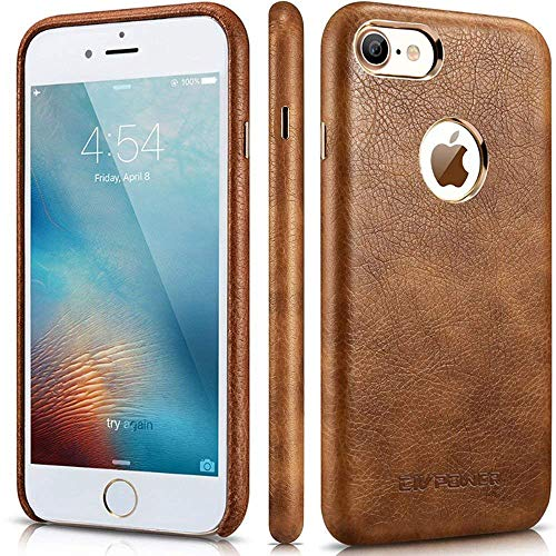 iPhone 8 Leather Case - iPhone 8 Case for Leather - Premium PU Leather Case Best Vintage Cellphone Protective Back Cover - Luxury Ultra Slim Thin Fit Phone Faux Leather Case for Apple iPhone 8 - Brown