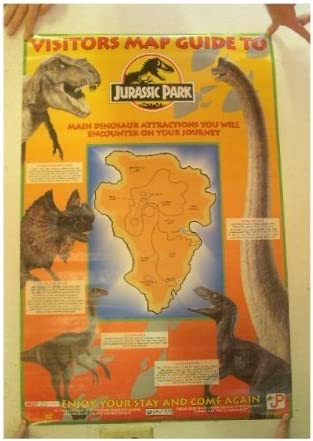 Amazon.com: Jurassic Park Póster Visitantes Mapa Guía para ...