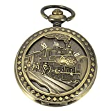 SIBOSUN Antique Pocket Watch Automatic Mechanical 3D Locomotive Steam Train Railroad Men Skeleton Chain