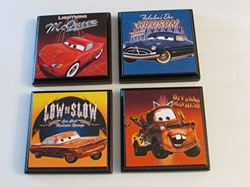Disney Wall Plaque - Disney Cars Room Wall Plaques - Set #2 - Set of 4 Disney Cars Boys Room Decor - Cars Room Sign - Lightning McQueen | Mater | Hudson | Low N Slow