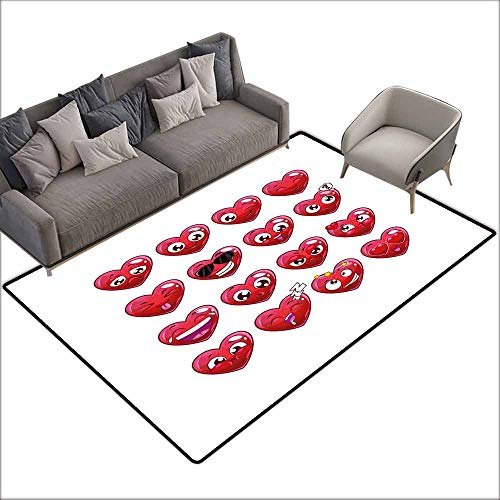 Soft Area Children Baby Playmats Emoji,Abstract Cartoon Funny Facial Expressions Emotions Love Valentines Happiness,Dark Coral Plum 64