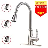 VESLA HOME Single Lever Handle Lead-Free Stainless Steel Pull Down Sprayer Kitchen Sink Faucet,Brushed Nickel Kitchen Faucets With Deck Plate