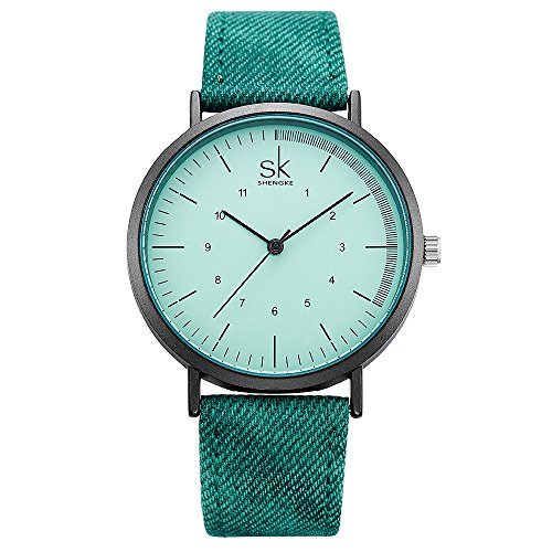 SK Lady Watch Leather Watchband Simple Decent Casual Fashion Women Wristwatch Waterproof Watches Dial (K8020-Green) (Rectangle Watch Wrist Ladies)