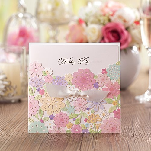 Wishmade 1 Piece Laser Cut Wedding Invitations Invites With Handmade Bowknot Colorful Flower Card Stock For Engagement Party Bridal Shower CW5031