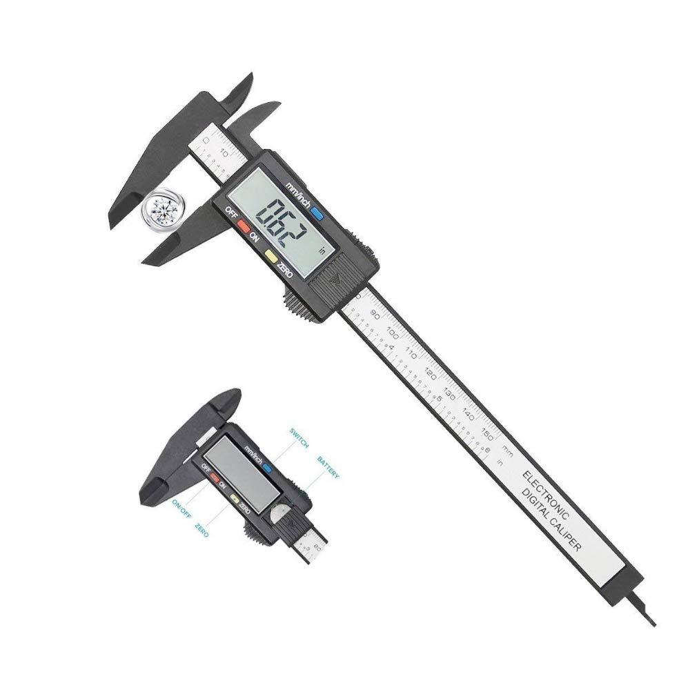 JZK Calibre digital pl/ástico pie de rey calibrador 150mm con pulgadas y m/étricas profundidad conversi/ón pantalla LCD con baterias
