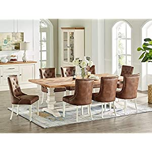 Everhome Designs - Savannah 7 Piece Rustic Oak Two Tone Extension Dining Table Set