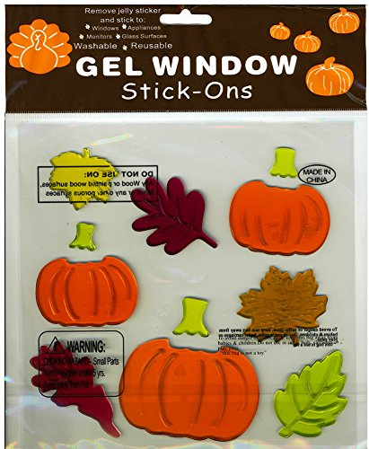 Pumpkins Jack-o-Lanterns and Fall Leaves Gel Window Clings
