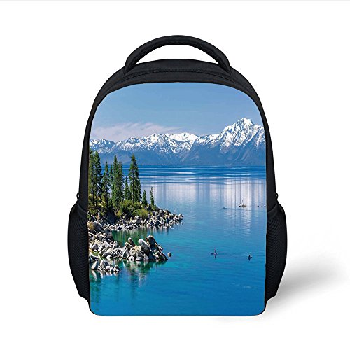 ackpack Landscape,Blue Waters of Lake Tahoe Snowy Mountains Pine Trees Rocks Relax Shore,Light Blue Green Grey Plain Bookbag Travel Daypack ()