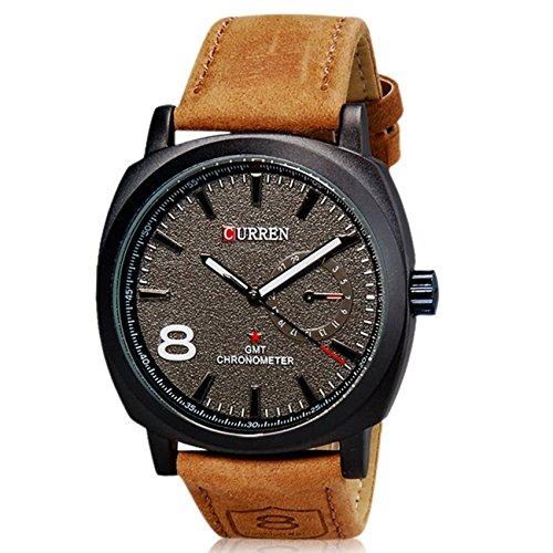 Curren Unisex Men's Stylish Quartz Analog Watch with Leather Strap M