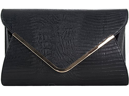 fi9? Croc Print Envelop Bridal Wedding Evening Handbag Party Purse Clutch Shoulder Hand Bag Black