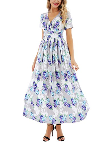 Uniboutique Women's V-Neck Pattern Pocket Maxi Long Dress