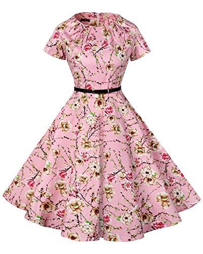 FitDesign Women's 1950s A Line Vintage Dresses Audrey Hepburn Style Floral Party Dress (Small, (Good Womens Fancy Dress Ideas)