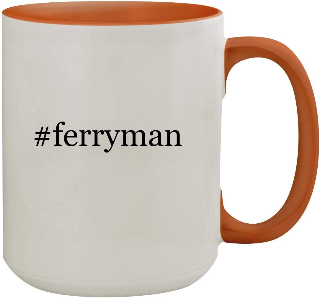 #Ferryman - 15Oz Hashtag Colored Inner & Handle Ceramic Coffee Mug, Orange