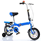 ZCRFY Folding Children Bike Bicycle 7-15 Years Old Boys And Girls Primary School Students Kids Adjustable Light Weight Safe Balance Tricycle,Blue-20Inches