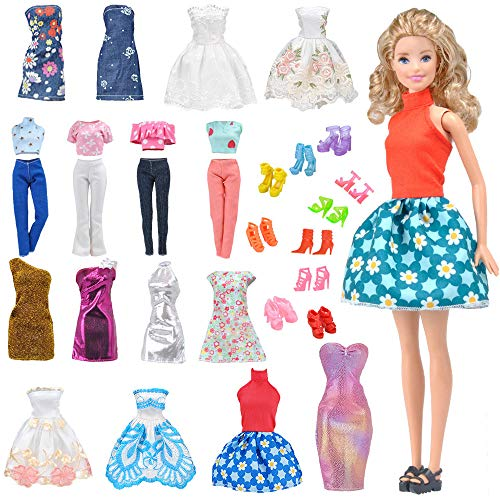 - E-TING Lot 15 Items = 5 Sets Fashion Casual Wear Clothes/Outfit with 10 Pair Shoes for Girl Doll Random Style (Casual Wear Clothes + Short Skirt)