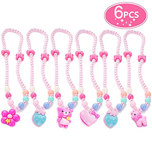 7Queen Little Girls Necklaces Set Pink Beads Bowknot Animal Flower Pendant Play Choker Princess Necklace, Kids Toddler Costome Jewelry Gift for Kids, -