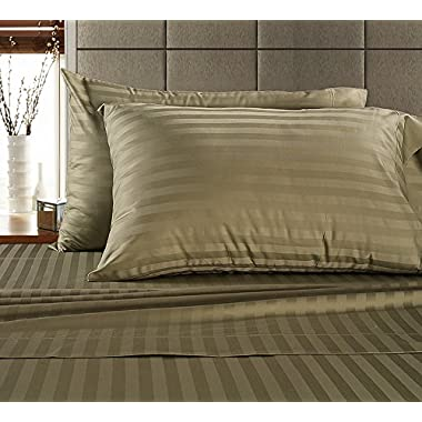 Chateau Home Hotel Collection - Luxury 500 Thread Count 100% Egyptian Cotton Damask Stripe Deep Pocket Super Soft Sateen Weave Sheet Set, Mega Sale Lowest Prices, King-Wheat