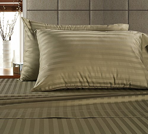 Damask Striped Pillowcase (Chateau Home Hotel Collection - Luxury 500 Thread Count 100% Egyptian Cotton Damask Stripe Deep Pocket Super Soft Sateen Weave Sheet Set, Mega Sale Lowest Prices, King-Wheat)