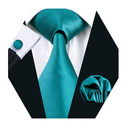 (Barry.Wang Mens Solid Blue Tie Set Silk Necktie Pocket Square Cufflinks Extra Long Tie)