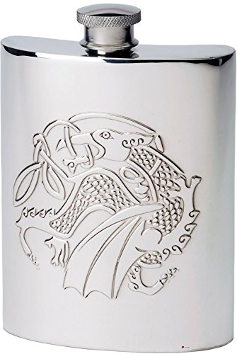 (6oz Pewter Hip Flask With Embossed Kells Dragon Design Great Gift)