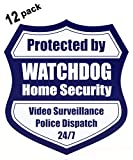 Security System Stickers - Front Adhesive Security Stickers for Windows - 3x3 inch, 12 pack