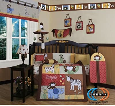 Boutique Beautiful Amazon Jungle Animals 13pcs Crib Bedding Set by GEENNY