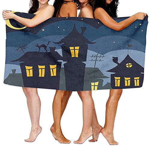 Wxf Halloween Old Town With Cat On The Roof Night Sky Moon And Stars Houses Cartoon Art Soft Lightweight Beach Towel Pool Towel 30x50 -