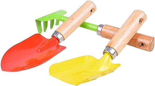 3 piezas de herramientas de jardinería para niños, con rastrillo, pala y paleta para niños, juguete de playa, cuidado interior de plantas de jardín: Amazon.es: Jardín