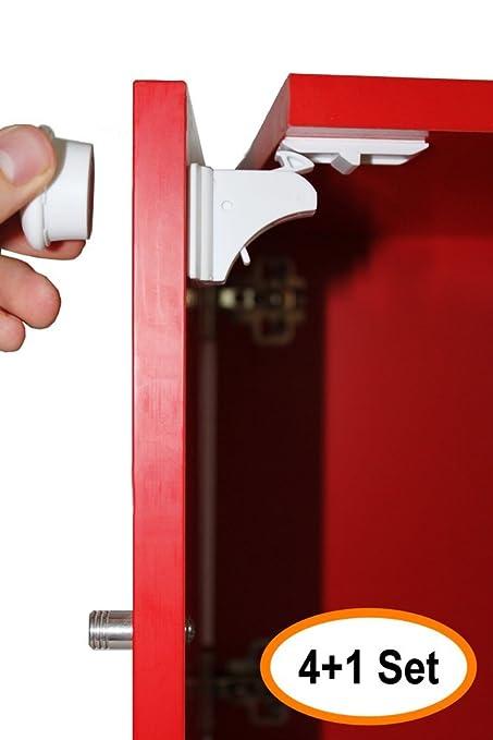 Cerraduras magnéticas de seguridad para niños para armarios y cajones - 4 cerraduras + 1 juegos