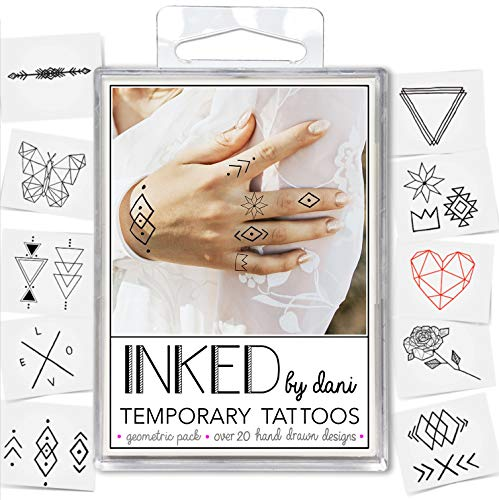 - INKED by Dani Temporary Tattoo Designs - Geometric Pack. Realistic, Hand-Drawn Body Art