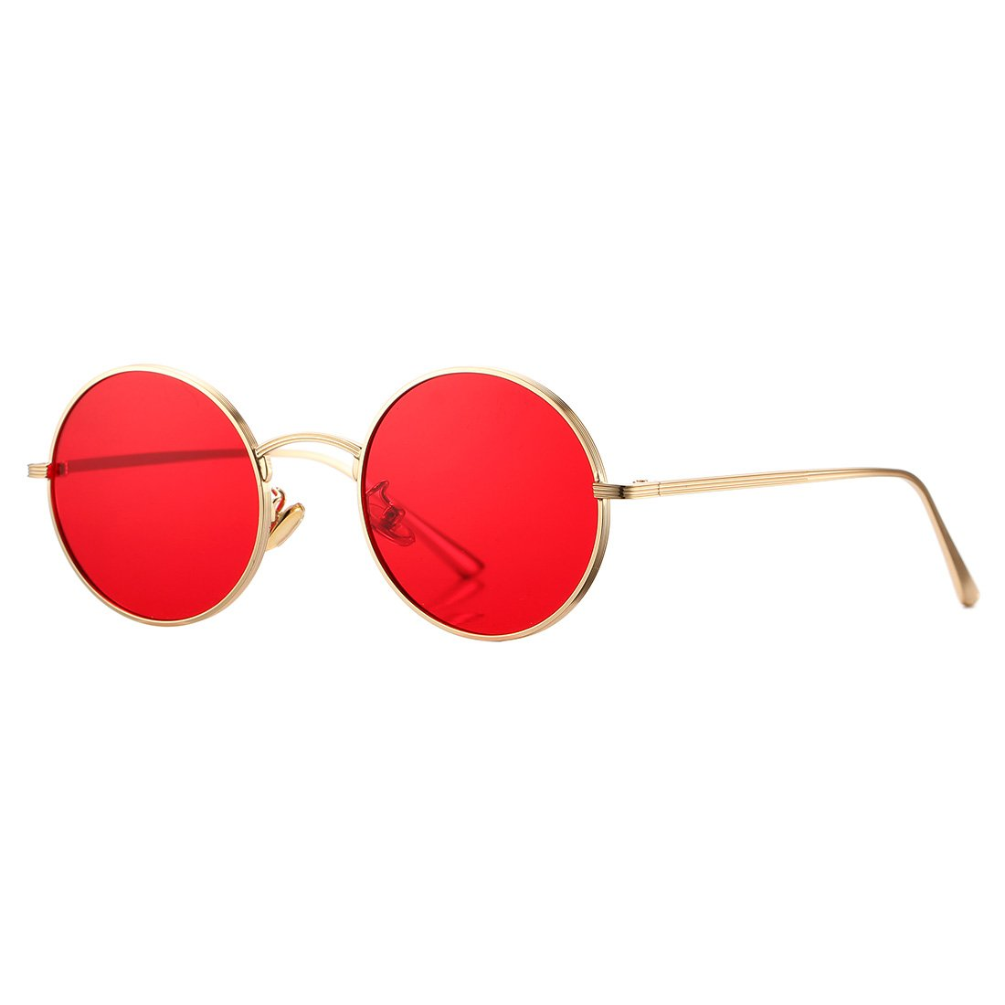 e3c0d560cb Amazon.com  COASION Vintage Round Metal Sunglasses John Lennon Style Small  Unisex Sun Glasses (Gold Frame Red Lens)  Clothing