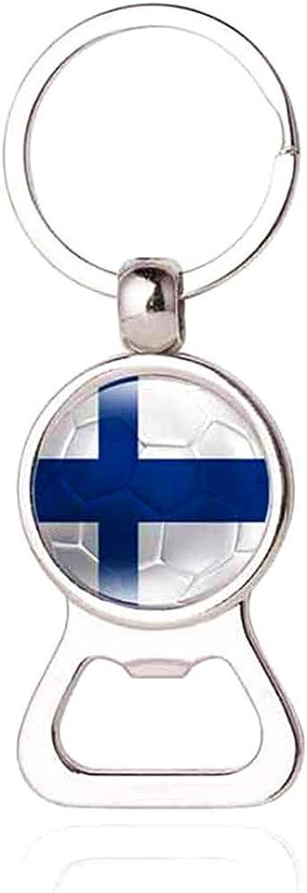 Porte-cl/és avec drapeau national et coupe du monde de football Finlande Porte-cl/és d/écapsuleur cr/éatif cadeau