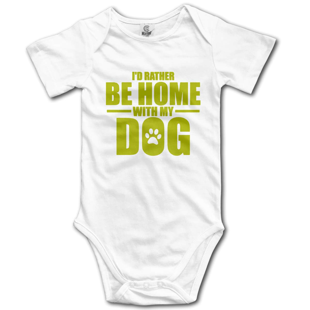 Id Rather Be Home with My Dog Baby Boys Or Girls 100/% Organic Cotton Layette Bodysuit 0-24 Months
