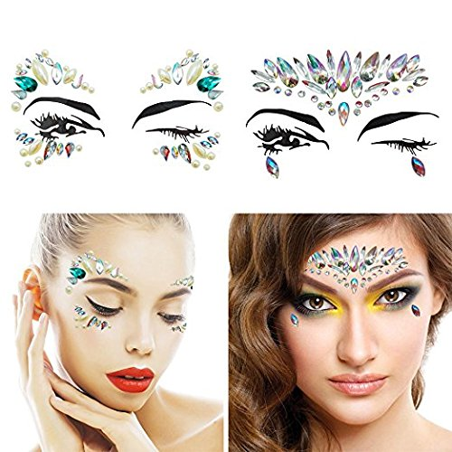8 Packs Festival Face Jewels Rhinestones Gems Face Crystals Tattoo Jewelry for Forehead Body Decorations Party Supplies, Makeup Rhinestone Face Jewels Stickers, Women Mermaid Face Gems Glitter by Imagination Park (Image #2)