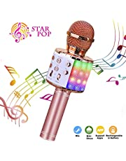 Wireless Karaoke Microphone, ShinePick 4 in 1 Bluetooth Dancing LED Lights Handheld Portable Speaker Karaoke Machine, Home KTV Player with Record Function, Compatible with Android & iOS Devices(Blue)