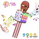 ShinePick Wireless 4 in 1 Bluetooth Karaoke Microphone, Handheld Portable Speaker Machine, Home KTV Player with Record Function, Compatible with Android & iOS Devices(Pink)