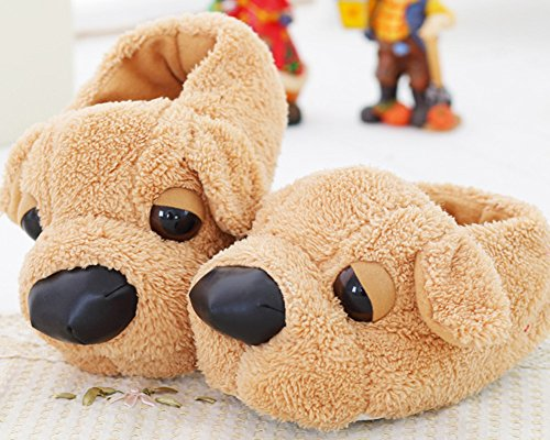 HW-GOODS Adult Dog Shape Cartoon House Shoes Winter Warm Bootie Slippers FgQuR7TZU