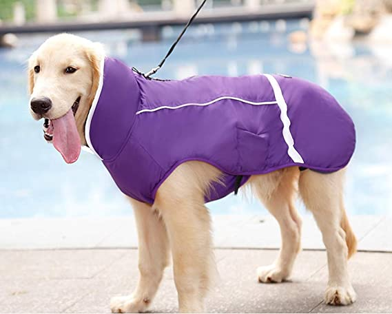 RC GearPro Water Resistant Dog Jacket Winter Thicken Pet Dog Clothes Apparel with Reflective Strips L, Black