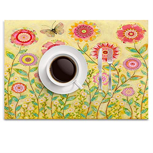 UTRgdfsvxc Place Mats Washable Fabric Placemats for Dining Room Kitchen Table Decor - Folk Art Collage Flower - Collage Art Folk
