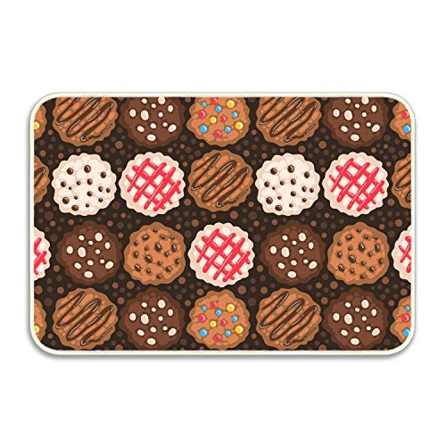 Chocolate Cookies Non-Slip Mat Entry Way Doormat for Patio, Front Door, All Weather, Exterior - Petty Chocolate