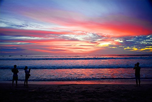 Laminated Poster Backlit Bali Beach Sunset Print